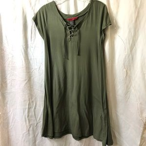 Olive green lace up t-shirt dress.